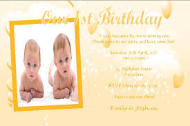 personalised birthday photo invitations twins design 4