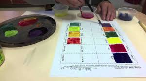 interactive color wheel mixing colors with tempera paint color