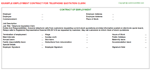 sample quotation doc telephone quotation clerk employment contract