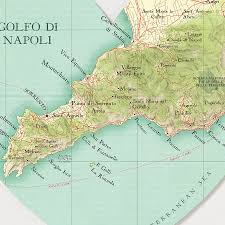 Campania Italy Map by Sorrento Portofino Coast Map Heart Wedding Print By Bombus Off The