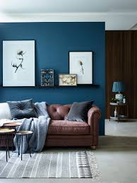 Blue Livingroom Add Some Brown Vintage Leather Into Your Living Room With The