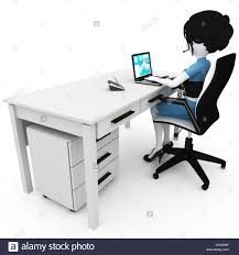 Laptop Help Desk 3d Working At The Help Desk Laptop Business Stock Photo