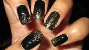 sparkly gold u0026 black french tip diy nail art tutorial mani vs