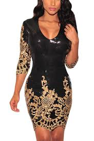 black and gold dress gold v neck glitter bodycon dress club dresses club