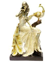 Home Decor Gift X Gift Beige Resin Peacock With Princess Lady Showpiece Home