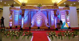 reception stage decoration at jayaram thirumana nilayam