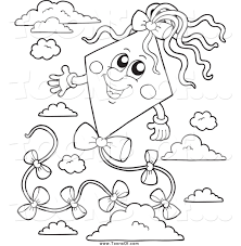 clipart of a black and white happy kite in the sky by visekart