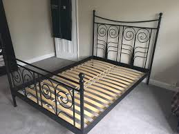 ikea noresund black metal double bed frame in solihull west