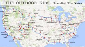 Kids Map Of The United States by Outdoor Kids Traveling The States