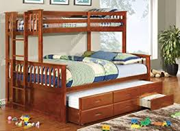 Amazoncom Furniture Of America Pammy Twin Over Queen Bunk Bed - Queen over queen bunk bed