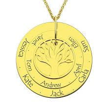 personalized family tree necklace personalized family tree necklace engraved gold color disc with