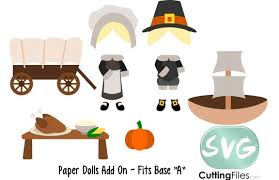 paper dolls pilgrims svg cutting file