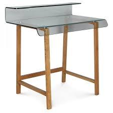 bureau en verre bureau en verre pieds bois artiste l 85xp 56xh 90cm