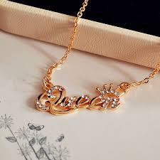 fashion jewelry chain necklace images H hyde new gold color queen letter crystal crown pendant necklace jpg