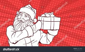white sketch santa claus hold gift stock vector 745170070