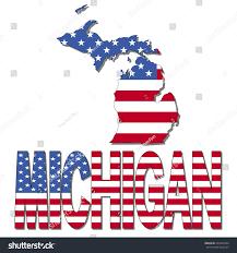 Michigan Map by Michigan Map Flag Text Vector Illustration Stock Vector 223829554