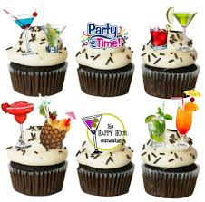 cocktail party drink edible stand up wafer paper cupcake toppers