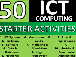50 x ict computing starter activities gcse or ks3 keyword starters