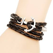 multi leather bracelet images Black pu leather bracelet for men multi layer winding anchor hand jpg