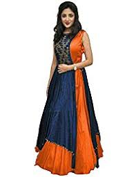 amazon in orange dress material ethnic wear clothing