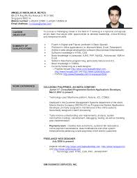 Resume Sample Doc Philippines by Help With Popular Application Letter Online