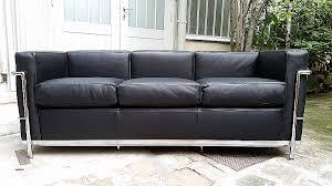canap cuir noir 3 places canape cuir le corbusier canapé 3 places lc2 le corbusier de
