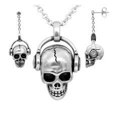 necklace skull images Skull with headphones necklace earrings rock 39 n 39 skull jewelry jpg