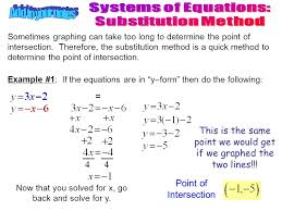 systems of equations substitution method