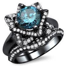 black and blue wedding rings 2 0ct blue diamond lotus flower engagement ring bridal set