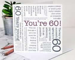 60 years birthday card 60th birthday card etsy