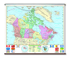 A Map Of Canada by Spring Roller Wall Maps Canada Universal Map Co