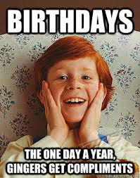 Funny Ginger Memes - birthdays the one day a year gingers get compliments ginger