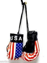 usa american mini boxing gloves car flag decoration mirror hanging