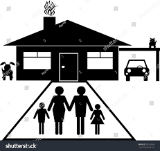 House Silhouette by Family Group House Carport Car Dog Stock Vector 351518249