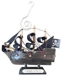 wooden caribbean pirate ship model ornament 4