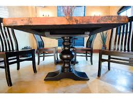 copper top dining room tables palettes by winesburg dining room madisyn dbl pedestal base p2kk