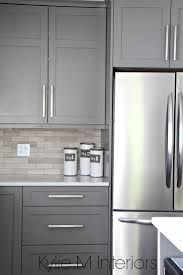 best ideas about gray kitchen cabinets pinterest grey kitchen cabinets painted benjamin moore amherst gray driftwood marble backsplash with stainless steel design
