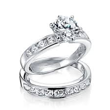 engagement and wedding ring set vintage cut cz engagement wedding ring set 1 5ct