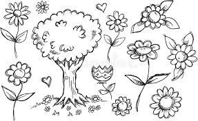 nature garden sketch doodle set stock vector image 44298252