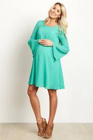 maternity dresses green chiffon bell sleeve maternity dress