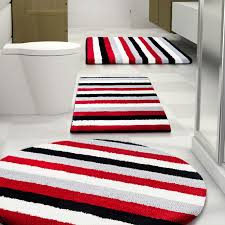 Striped Bathroom Rugs Bed Bath White Black And Striped Bathroom Rug Sets For Cool