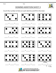 printable kindergarten math worksheets domino addition 3 adding