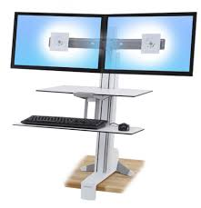 ergotron workfit s dual monitor with worksurface sit stand