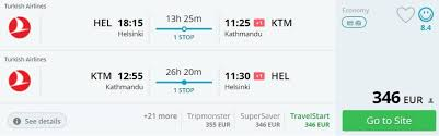 cheap flights to nepal from helsinki for 346 by turkish airlines
