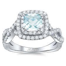 Halo Wedding Rings by Cushion Aquamarine Double Halo Engagement Ring With Twisted Band