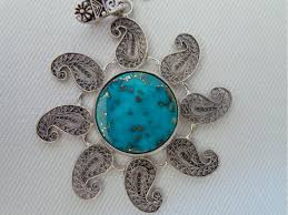 turquoise stone turquoise stone and silver pendant ha2080 persis crafts