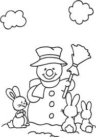 rabbits snowman coloring pages winter coloring pages