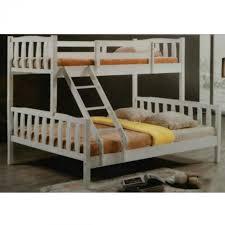 Q  Solid Wood Single Over Queen Double Decker Bunk Bed White - Queen single bunk bed