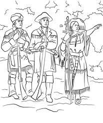 Sacagawea Coloring Page sacagawea with lewis and clark coloring page free printable