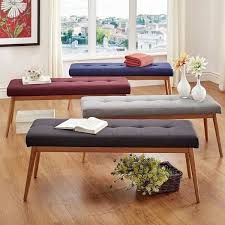 sasha oak angled leg linen dining bench inspire q modern free